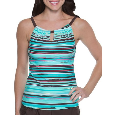 Beach Diva Womens Sunset Stripe Tankini Top