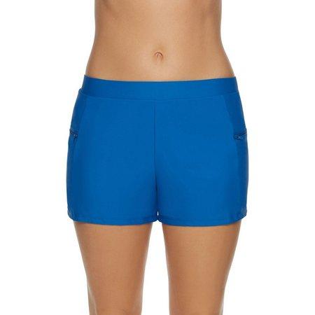 Beach Diva Womens Solid Side Zip Swim Shorts