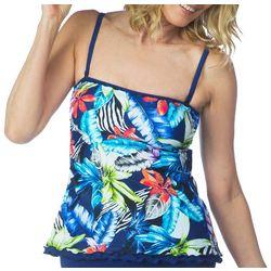 Maxine Womens Jungle Tropic Ruffled Tankini Top