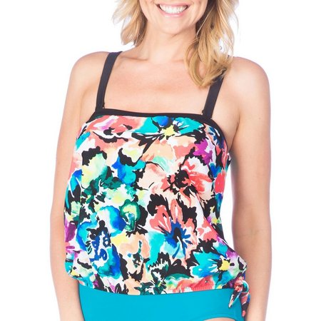 Maxine Womens Floral Bllouson Tankini Tie Side Swim