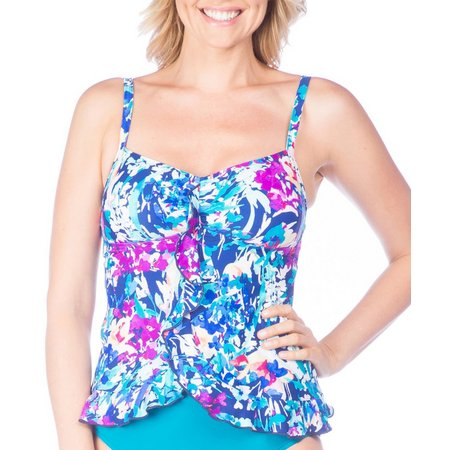 Maxine Womens French Floral Swing Tankini Top