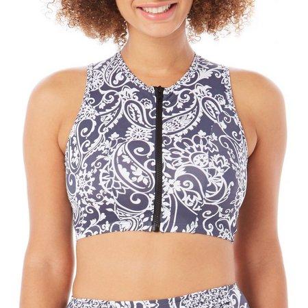 Paradise Bay Womens Zip Front Crop Bikini Top