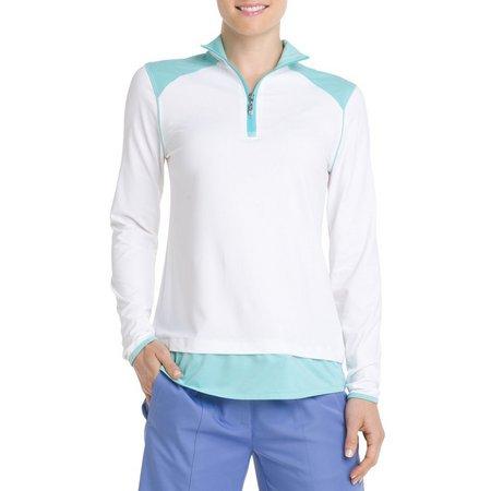 IZOD Golf Womens Shirt Tail Hem Polo Shirt