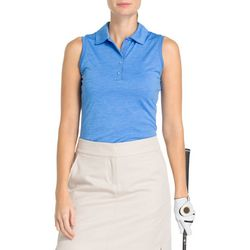 New! IZOD Golf Womens Sleeveless Heathered Polo Shirt