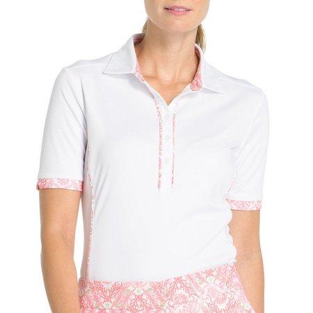 IZOD Golf Womens Flower Print Piped Polo Shirt