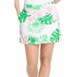 New! IZOD Golf Womens Leaf Print Woven Skort