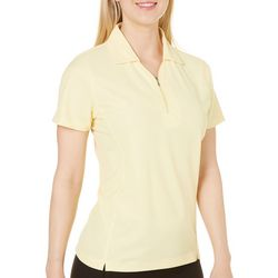 Pebble Beach Womens Solid Zip Neck Polo Shirt