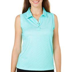 Pebble Beach Womens Dot Sleeveless Polo Shirt