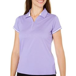 Pebble Beach Womens Pinstripe Print Polo Shirt