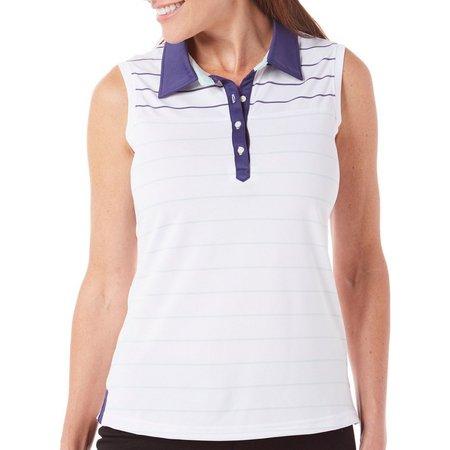 Pebble Beach Womens Golf Stripe Polo Shirt