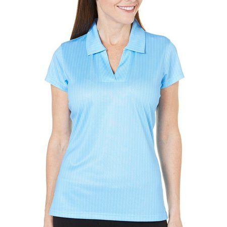 Pebble Beach Womens Solid V- Neck Polo Top