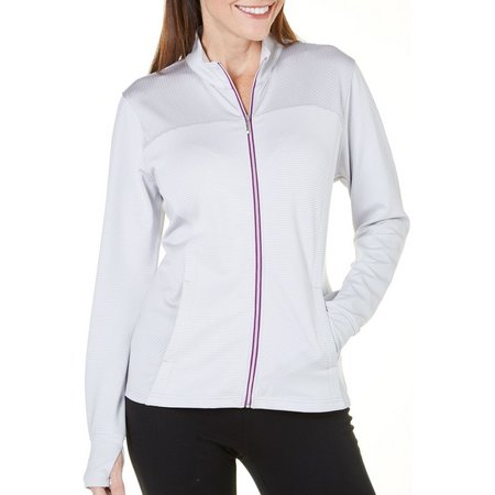 Pebble Beach Womens Zippered Stripe Print Jacket