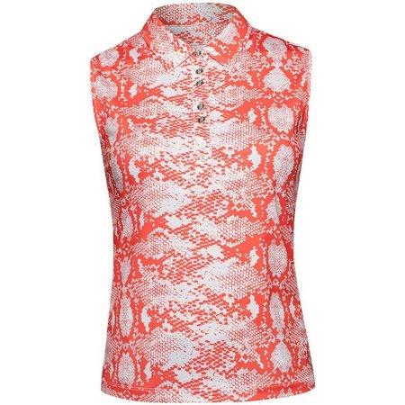 NIVO Womens Sleeveless Snakeskin Print Polo Shirt