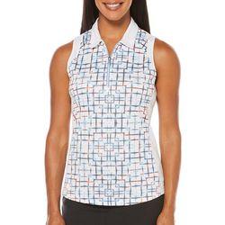PGA TOUR Womens Sleeveless Geo Panels Polo Shirt