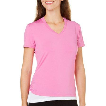 PGA TOUR Short Sleeve V-Neck Ruched T-Shirt