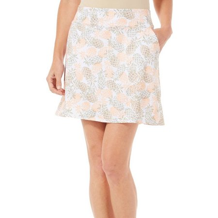 Coral Bay Golf Womens Pineapple Print Knit Skort
