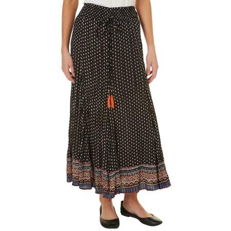 Lola P Womens Floral Print Mix Maxi Skirt