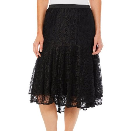 Lola P Womens All Over Lace Drop Hem