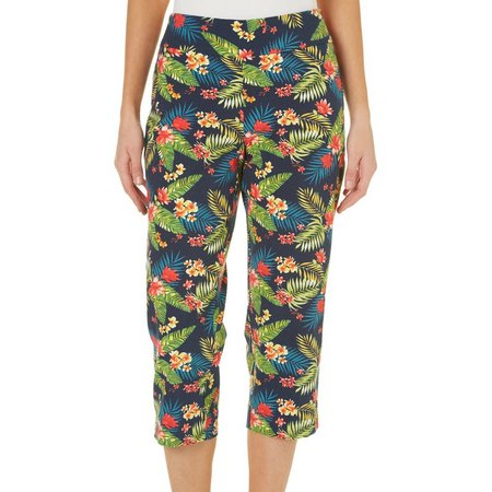 Counterparts Womens Tropical Floral Print Pull-On Capris