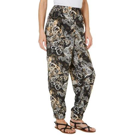 C'est La Vie Womens Paisley Print Jogger Pants