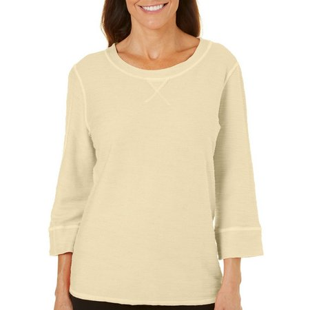Hot Cotton Womens Solid Textured Pullover Top