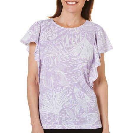 Hot Cotton Womens Leaf Print Flutter Sleeve T-Shirt