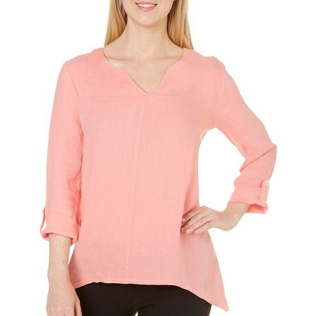 Hot Cotton Womens Rolled Sleeve Top