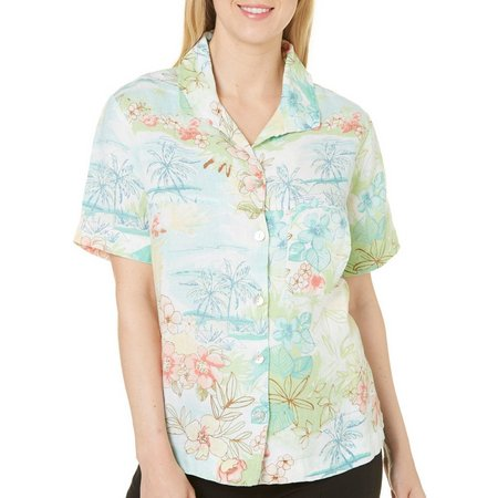 Hot Cotton Womens Floral Print Short Sleve Shirt