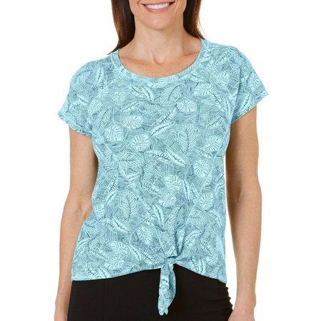 Hot Cotton Womens Leaf Print Tie Front T-shirt