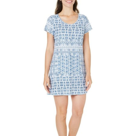 Hot Cotton Womens Scoop Neck Printed Dress