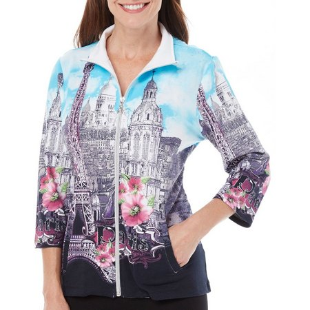 SPORTELLE Womens Mock Neck Let's Go Printed Jacket