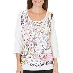 New! SPORTELLE Womens Embellished V-Neck Top