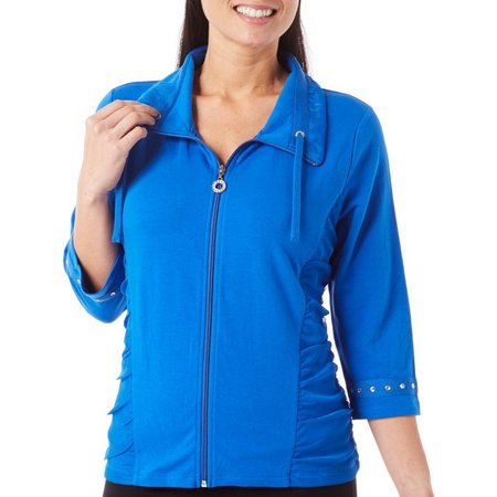SPORTELLE Womens Solid Ruched Collar Jacket