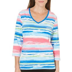 New! SPORTELLE Womens Stripe Sequin Top