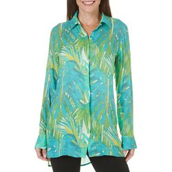 Margaritaville Womens Watercolor Palm Leaf Top