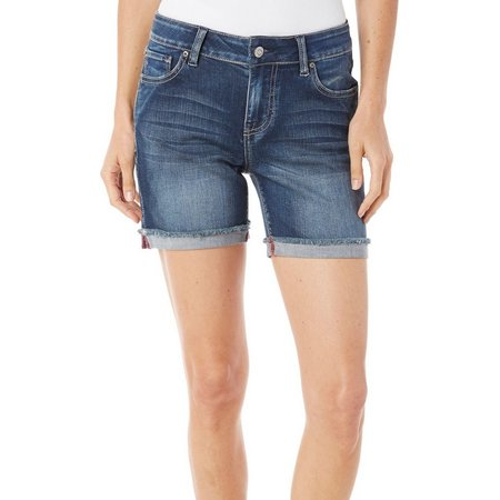 Kensie Jeans Womens Stringy Hem Cuff Denim Shorts