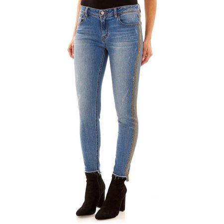 Kensie Jeans Womens Reno Stripe Side Skinny Jeans