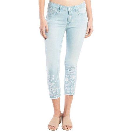 New! Kensie Jeans Womens Floral Light Wash Denim
