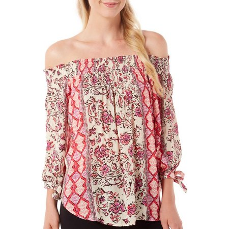 Kensie Jeans Womens Floral Off Shoulder Top