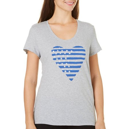 Loft Womens Graphic Heart Stars & Stripes T-Shirt