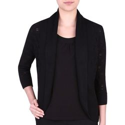Alia Womens Solid Open Front Cardigan