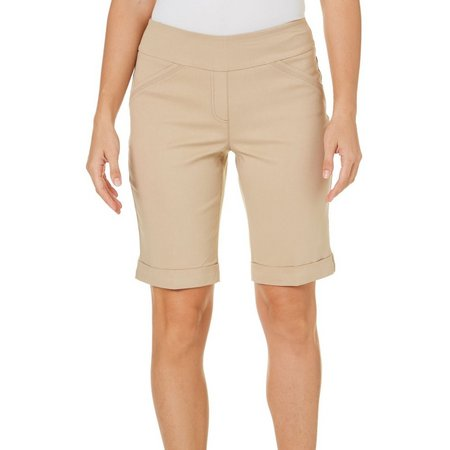Alia Womens Tech Stretch Cuffed Bermuda Shorts