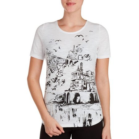 Alia Womens Embellished Scenic Castle Print Top