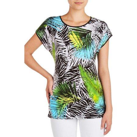 Alia Womens Palm Print Top