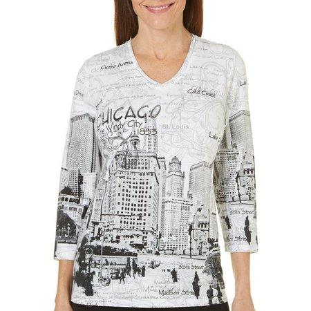 Alia Womens Chicago Printed Top