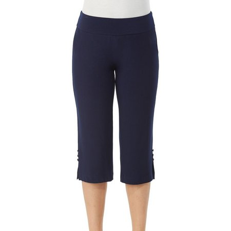Alia Womens Pull-On Button Hem Accent Capris