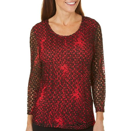Alia Womens Crochet Lace Overlay Top