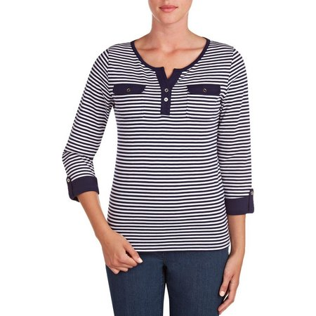 Alia Womens Stripe Henley Top
