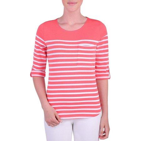 Alia Womens Striped Chest Pocket Top
