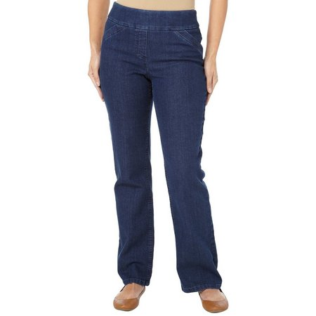 Alia Womens Denim Tech Stretch Pull On Pants